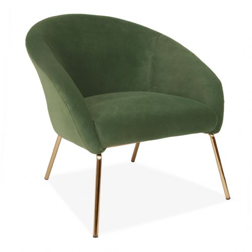 Green Velvet One Seater Sofa, with Gold Legs
